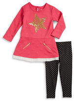 Flapdoodles Girls 2-6x Two-Piece Star Accented Dress and Leggings Set