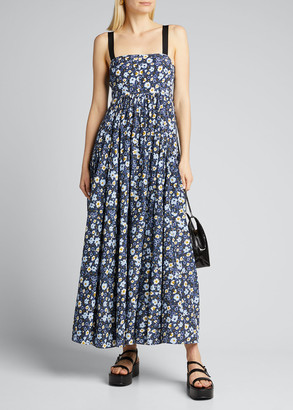 Lee Mathews Liana Silk-Cotton Floral Maxi Dress