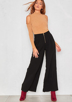 Missy Empire Sonya Black Palazzo Gold Zip Trousers