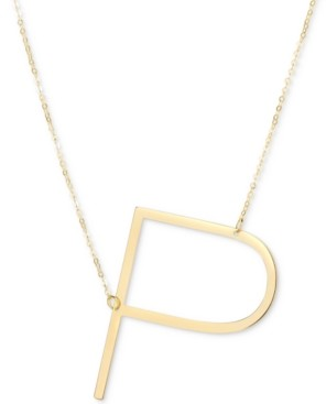 """Italian Gold Initial 18"""" Pendant Necklace in 10k Gold"""
