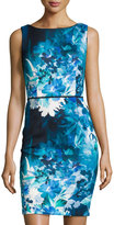 Aidan Mattox Floral-Print Sheath Dress, Teal/Multi
