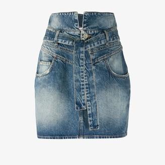 ATTICO Tie Waist Stonewash Denim Mini Skirt