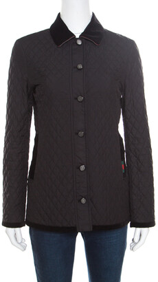 Gucci Equestrian Black Velvet Trim Detail Quilted Jacket S