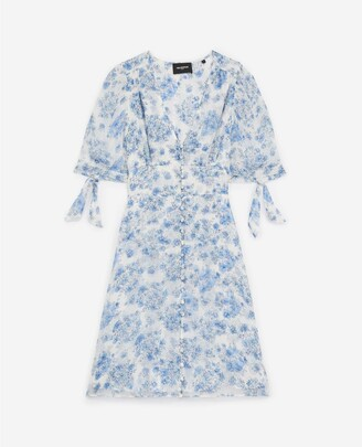 The Kooples Short blue dress w/smocking & metal buttons