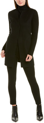 Forte Cashmere Cable-Sleeve Wool & Cashmere-Blend Coat