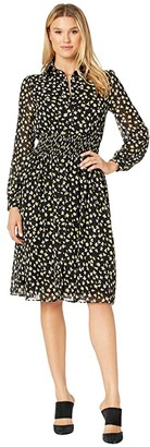 MICHAEL Michael Kors Tossed Lillies Dress (Black/Bright Dandelion) Women's Dress