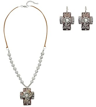 M&F Western Chocolate and White Cross Concho w/ Beads Necklace/Earrings Set (Brown/White) Jewelry Sets