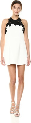 Halston Women's Sleeveless High Neck with Embroidered Top Dress