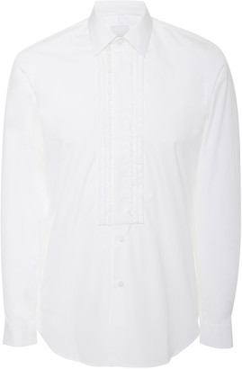 Prada Pleated Cotton-Poplin Tuxedo Shirt