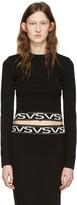 Versus Black Cropped Logo Pullover