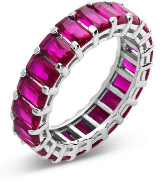 Sterling Forever Sterling Silver Emerald Cut CZ Eternity Band - Fucshia