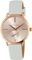 MICHAEL Michael Kors 36.5mm Rose-Golden Watch w/ Leather Strap, White