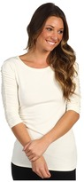 Vince Camuto Essentials 3/4 Sleeve Rouched Scoop Neck Tee (Light Cream) - Apparel