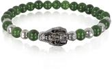 Blackbourne Jade Irregular Stone Men's Bracelet w/Gunmetal Swarovski Crystal Skull