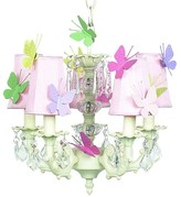 The Well Appointed House Ivory Stacked Glass Ball Chandelier with Pink Shades