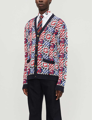 Gucci Logo-intarsia V-neck linen and cotton-blend cardigan