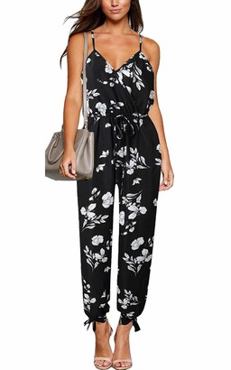 Yieune Summer Jumpsuit with Belt Elegant Floral Print for Women Overall Backless Sling V Neck Casual Party Romper (A-Black M)