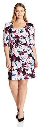 Notations Women's Plus Size Allover Printed 3/4 Split Sleeve Dress