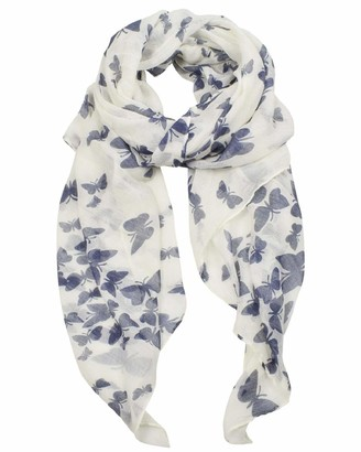 Yuson Girl Large Silk Scarf for Women Ladies Silky Long Viscose Scarf Elegant Butterfly Bird Floral Leaves Branches Pattern Print Scarf Scarf Lightweight Robin Neck Scarves Wrap Shawl Stole