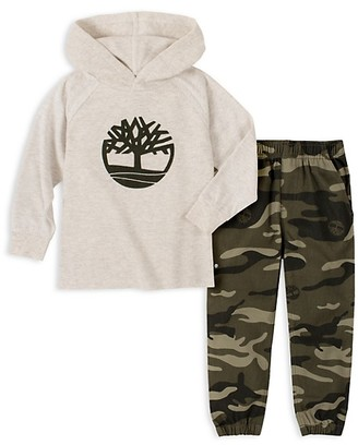 Timberland Little Boy's 2-Piece Graphic Hoodie & Camo-Print Pants Set
