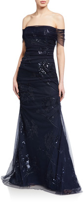 Rickie Freeman For Teri Jon Off-the-Shoulder Ruched Tulle Overlay Gown