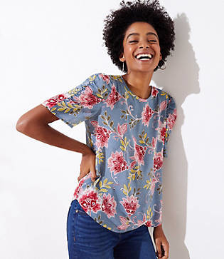 LOFT Garden Cinched Puff Sleeve Top