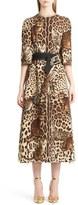 Dolce & Gabbana Belted Bengal Cat Print Cady Dress