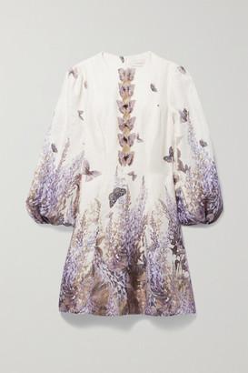 Zimmermann Luminous Cutout Appliqued Printed Linen Mini Dress - Ivory