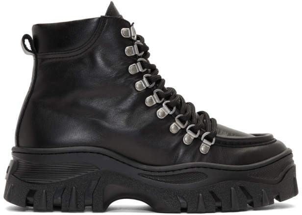 MSGM Black Chunky Lace-Up Boots