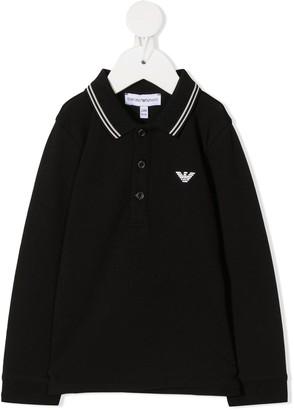 Emporio Armani Kids Striped Collar Polo Shirt