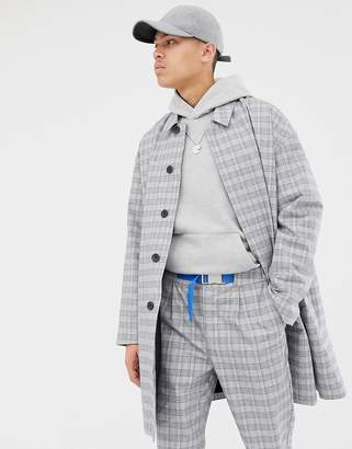 Asos co-ord trench coat in check-Grey