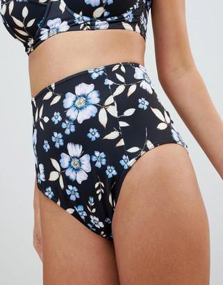 ASOS DESIGN FULLER BUST Exclusive Fallen Floral Print High Waist Bikini Bottom