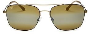 Maui Jim Men's Lava Tube Polarized Mirrored Brow Bar Aviator Sunglasses, 57mm