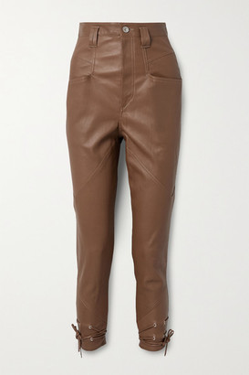 Isabel Marant Badeloisa Lace-up Leather Tapered Pants - Camel