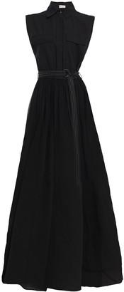 Brunello Cucinelli Belted Poplin-paneled Bead-embellished Silk-organza Maxi Dress