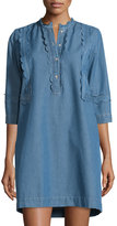 MiH Jeans Angie Chambray Dress with Scalloped Detail, Blue