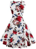 Lecimo Women's Vintage Classy Floral Sleeveless Party Picnic Cocktail Dress