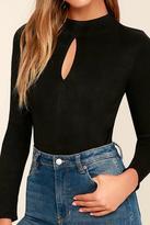 MinkPink Black Suede Bodysuit