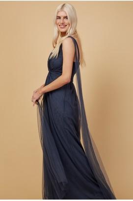 Little Mistress Bridesmaid Eden Gunmetal Knot-Front Maxi Dress