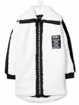 Thumbnail for your product : DKNY TEEN logo-patch faux-fur coat