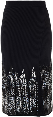 Jonathan Simkhai Wrap-effect Sequin-embellished Ribbed-knit Skirt
