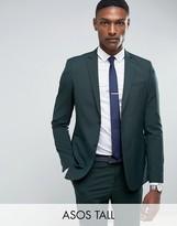 Asos Tall Slim Suit Jacket In Green
