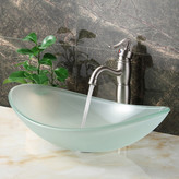 Elite Double Layered Tempered Glass Boat Shaped Bowl Vessel Bathroom Sink Drain