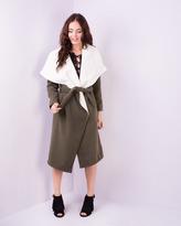 Missy Empire Riva Khaki Contrast Collar Waterfall Coat