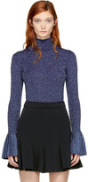 Carven Blue Lurex Turtleneck