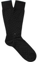 Ermenegildo Zegna Pin-dot Mercerised Stretch Cotton-blend Socks - Charcoal