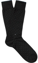 Ermenegildo Zegna Pin-Dot Mercerised Stretch Cotton-Blend Socks
