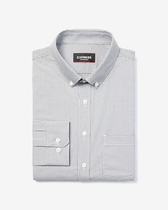 Express Extra Slim Check Print Wrinkle-Resistant Performance Dress Shirt
