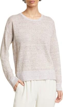 Eileen Fisher Crewneck Organic Linen Box Top Sweater