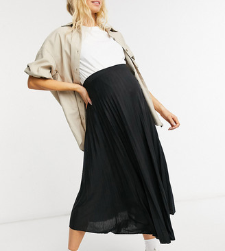 ASOS DESIGN Maternity pleated midi skirt in black